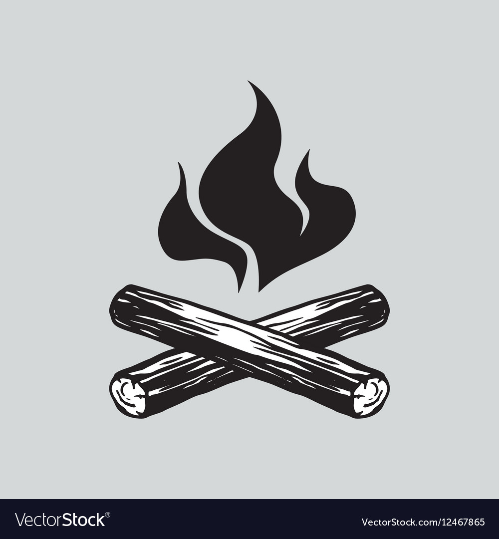 Campfire with Firewood Icon vector image