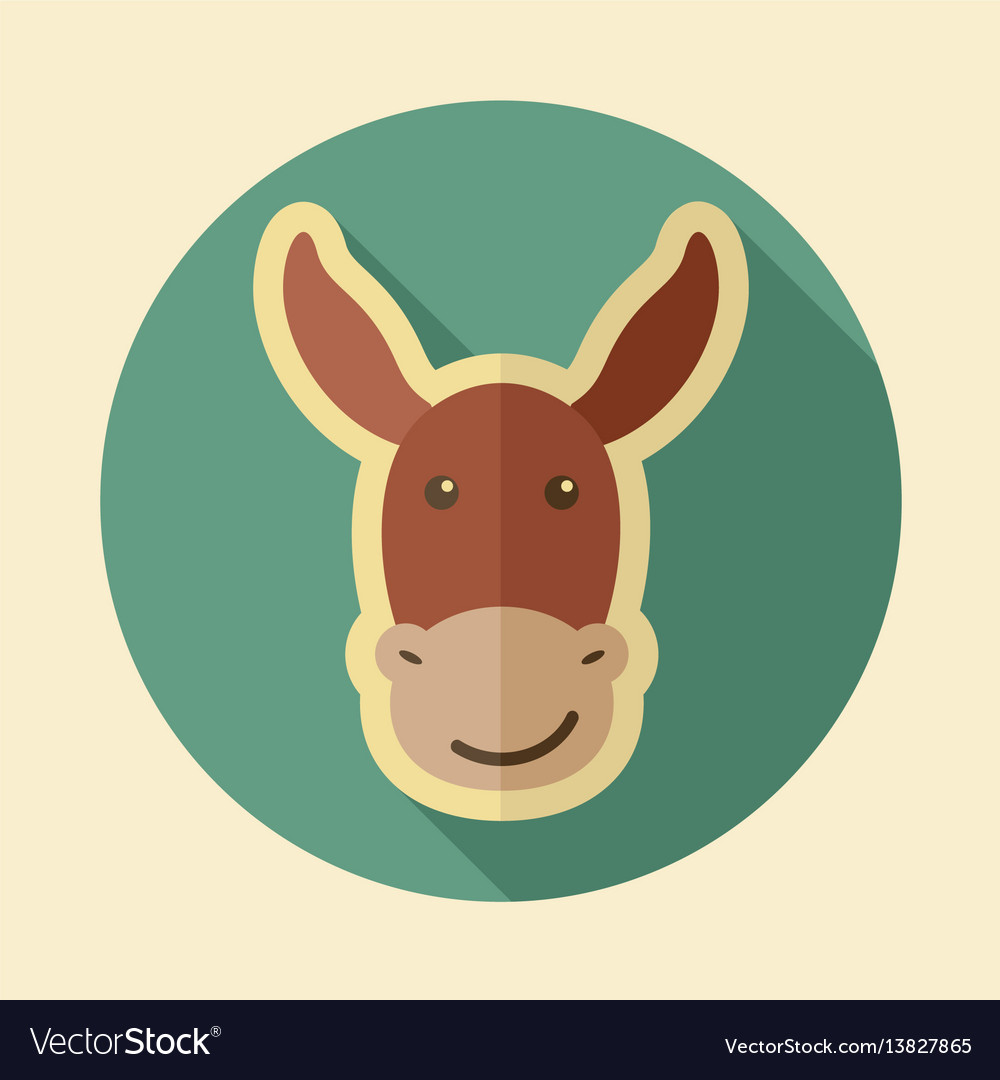 Donkey flat icon animal head vector image