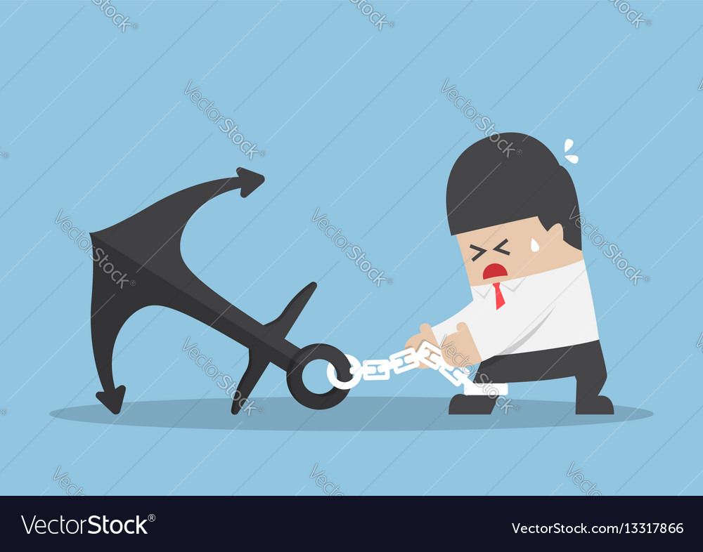 Businessman chained to a heavy metal anchor vector image