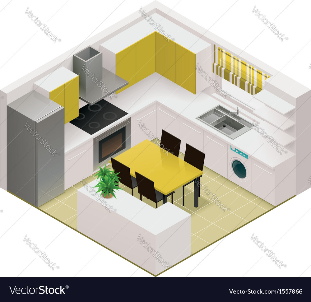 Isometric kitchen icon vector image
