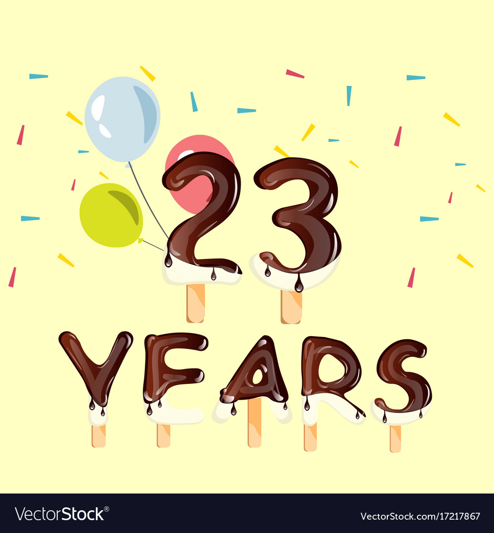 23 years birthday design for greeting cards Vector Image – 23 Birthday Cards