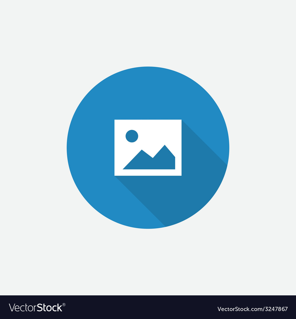 Blank photo Flat Blue Simple Icon with long shadow vector image