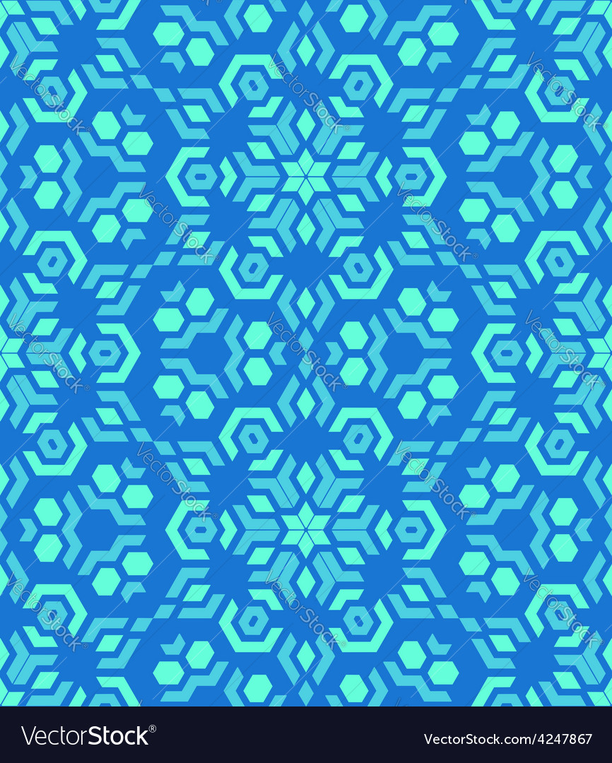 Geometric abstract colorful mosaic blue seamless vector image