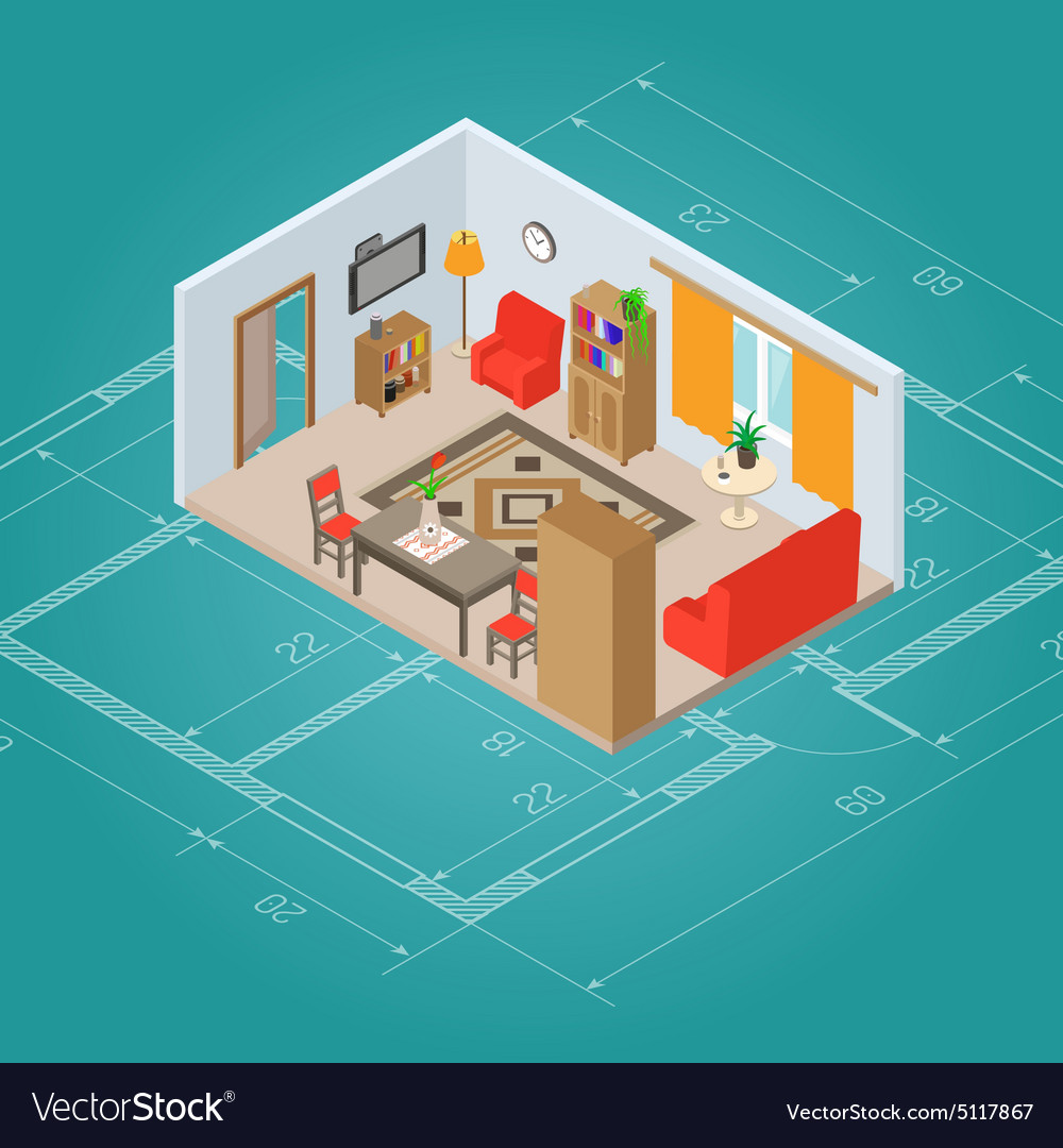 Isometric Living Room Interior vector image