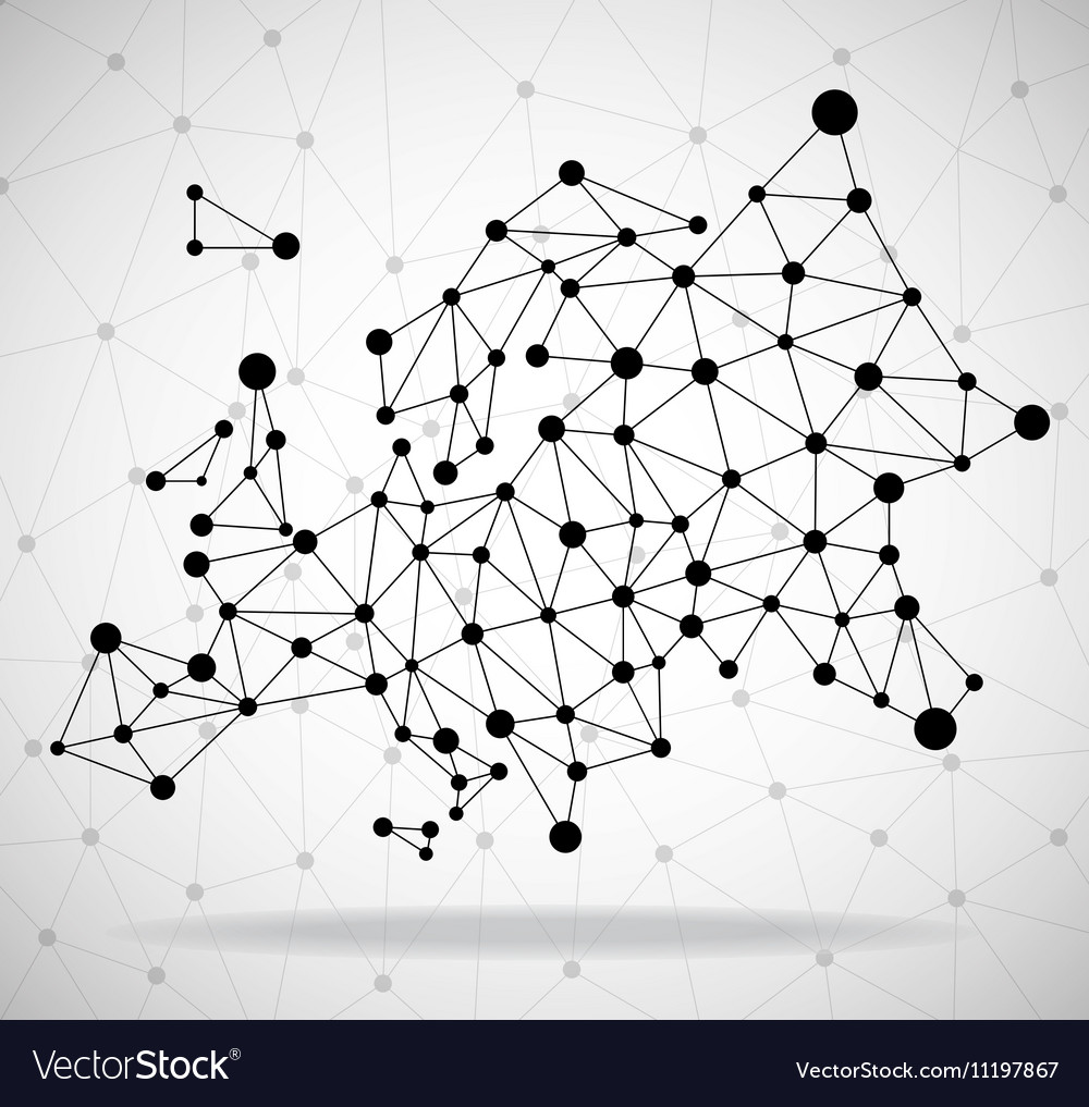 Polygonal map of Europe with dots and lines vector image