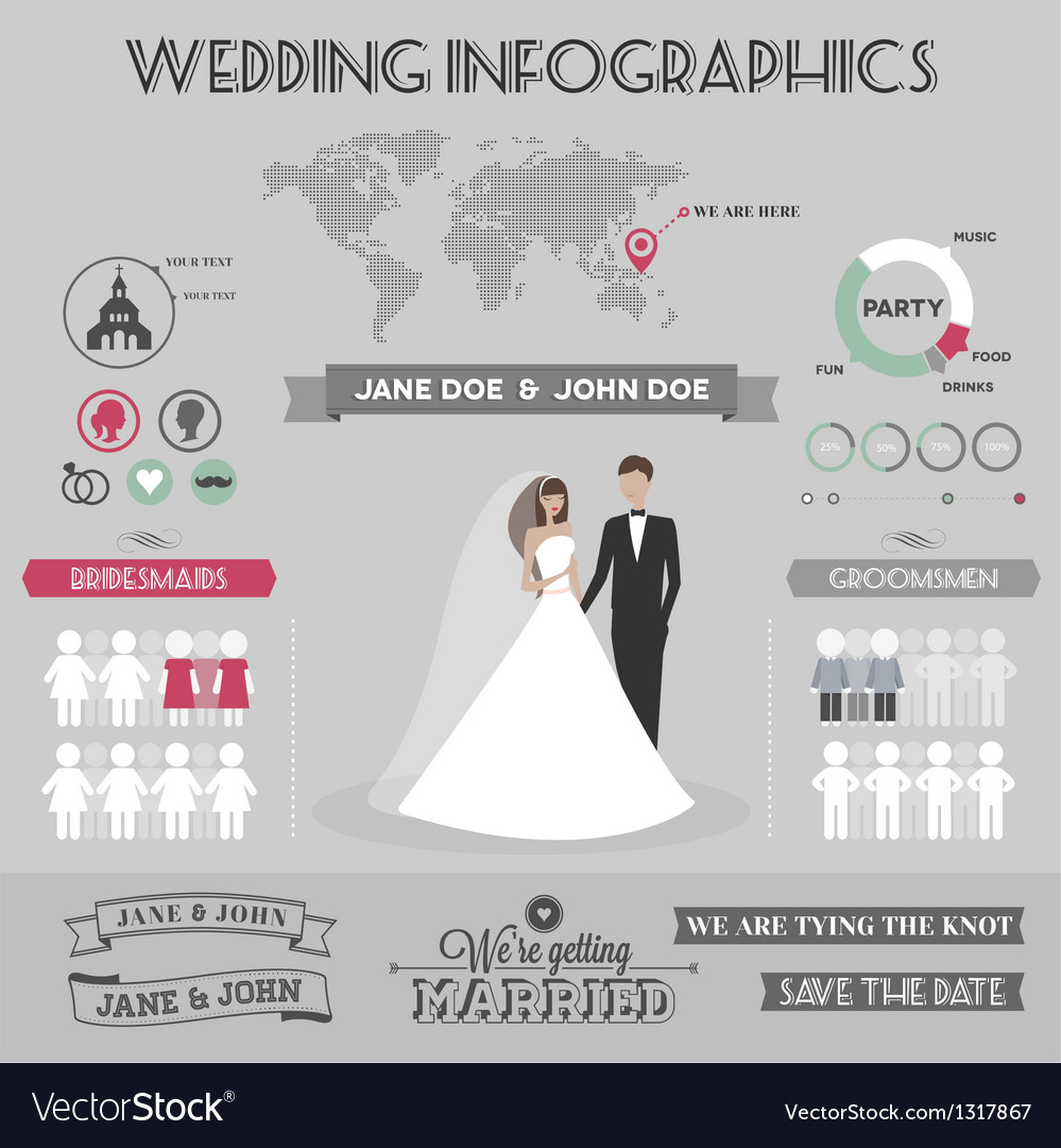 Wedding infographics vector image