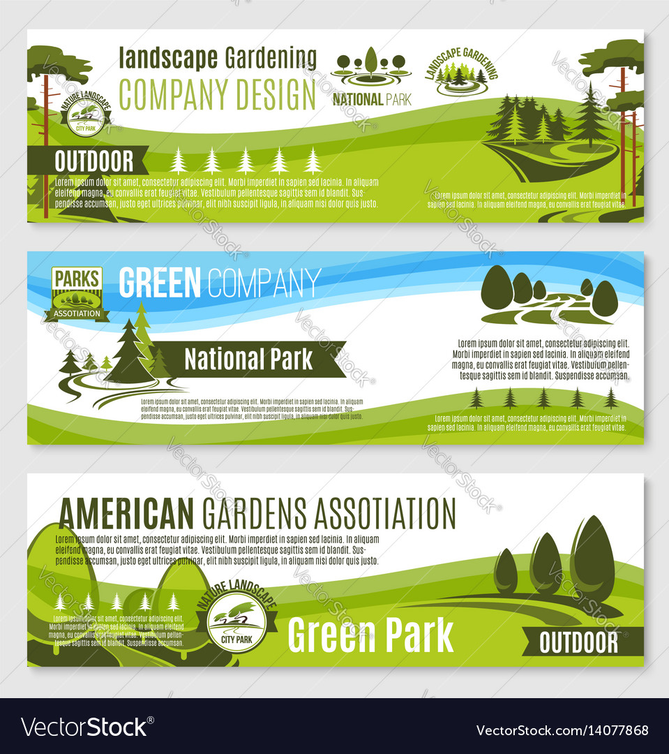 Gardening or green landscape design banners vector image