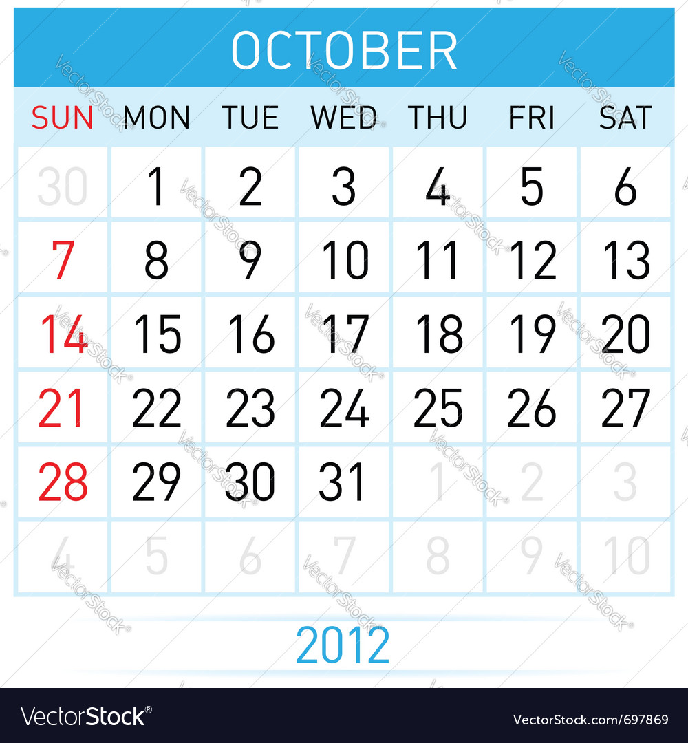 October calendar vector image