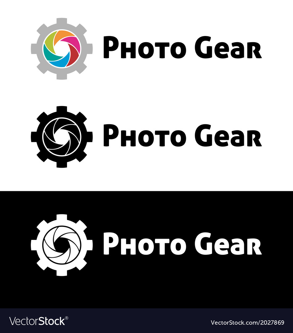 Photo gear logo template vector image