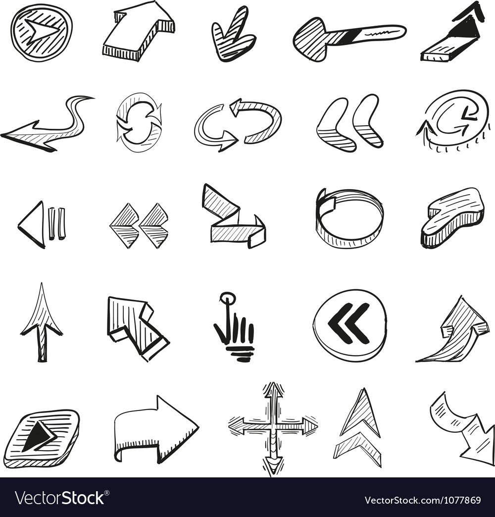 Set 25 hand drawn arrows vector image