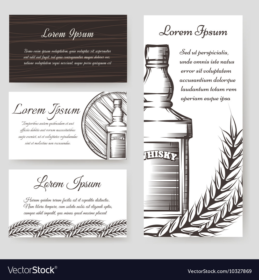 Whisky bouqlet and cards templates set vector image