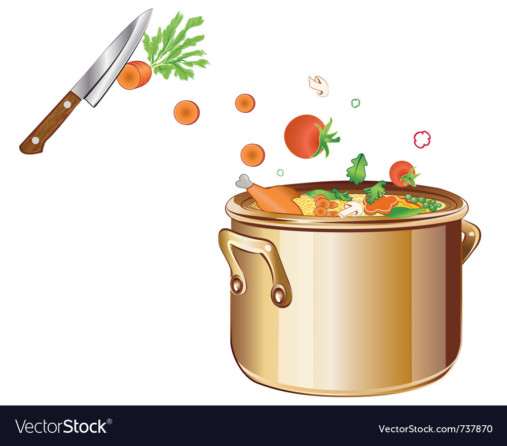 Cooking soup with vegetables vector image
