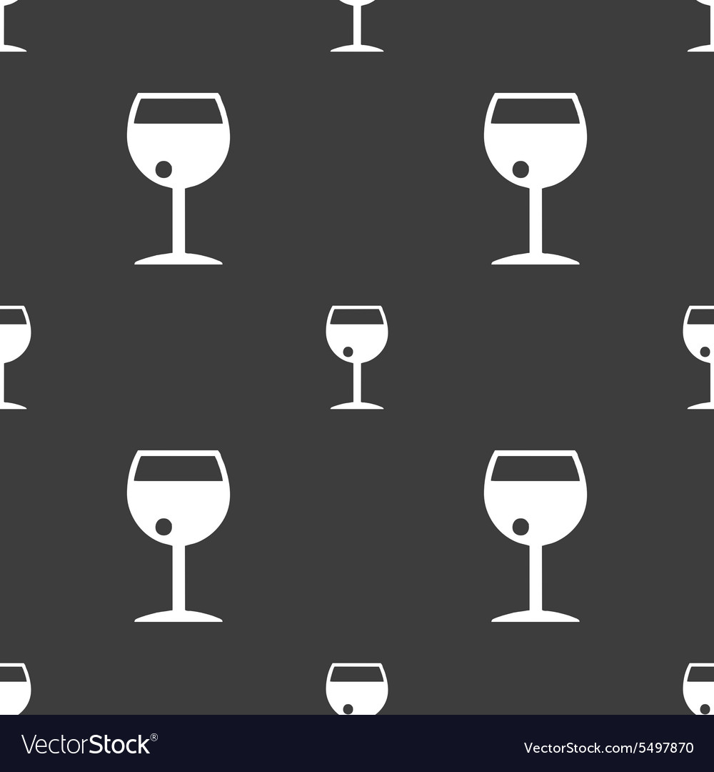 Glass of wine icon sign Seamless pattern on a gray vector image