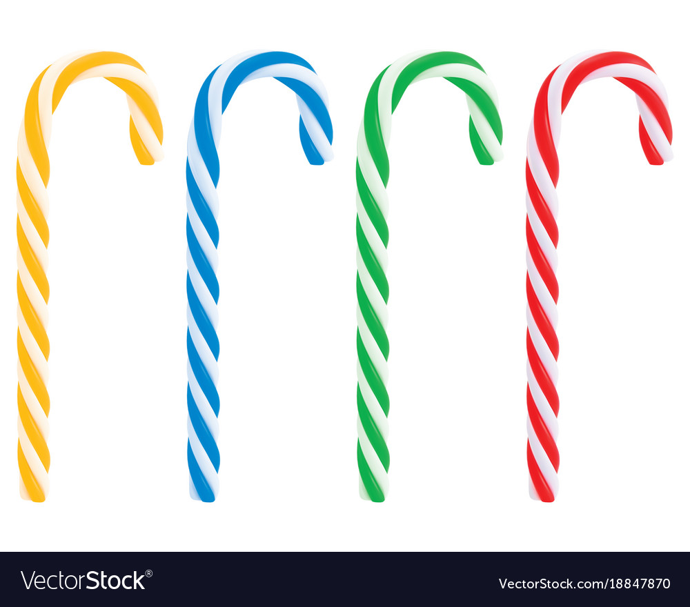 Set of realistic christmas candy cane 3d vector image