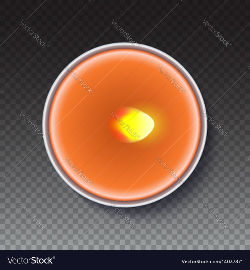 Realistic round candle in a metal case isolated on vector image