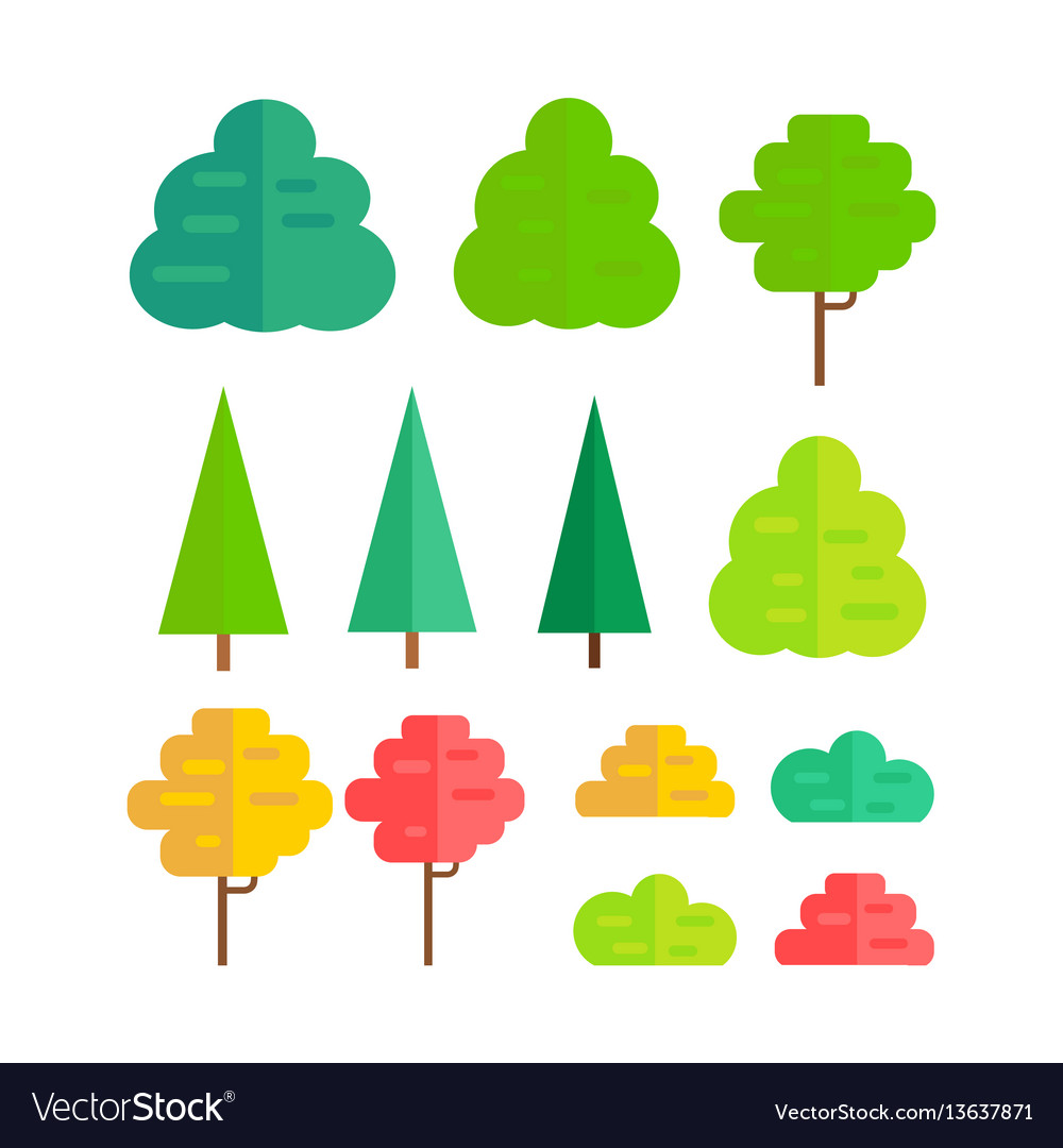 Set of isolated trees vector image