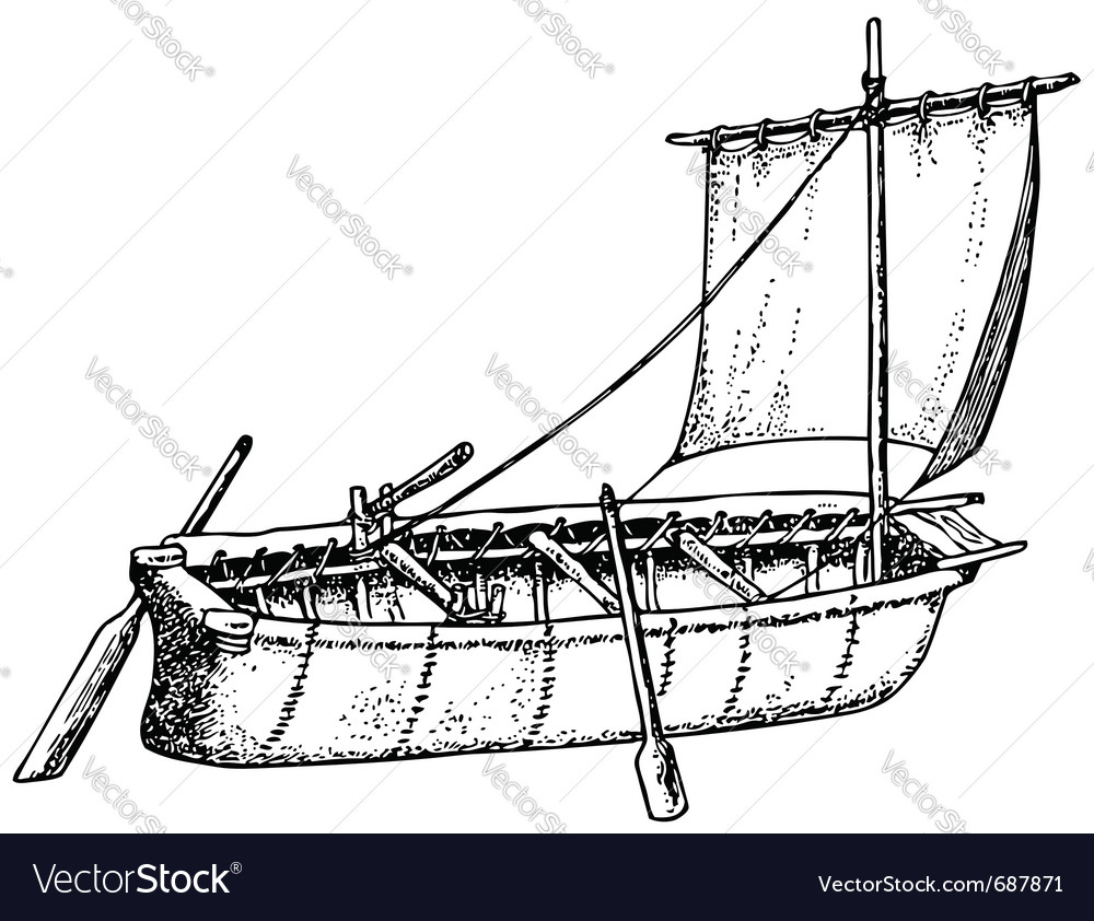 Umiak boat vector image