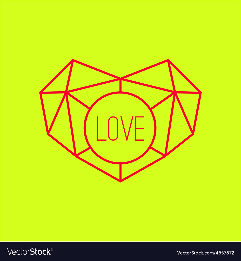 Geometric heart background with lines vector image