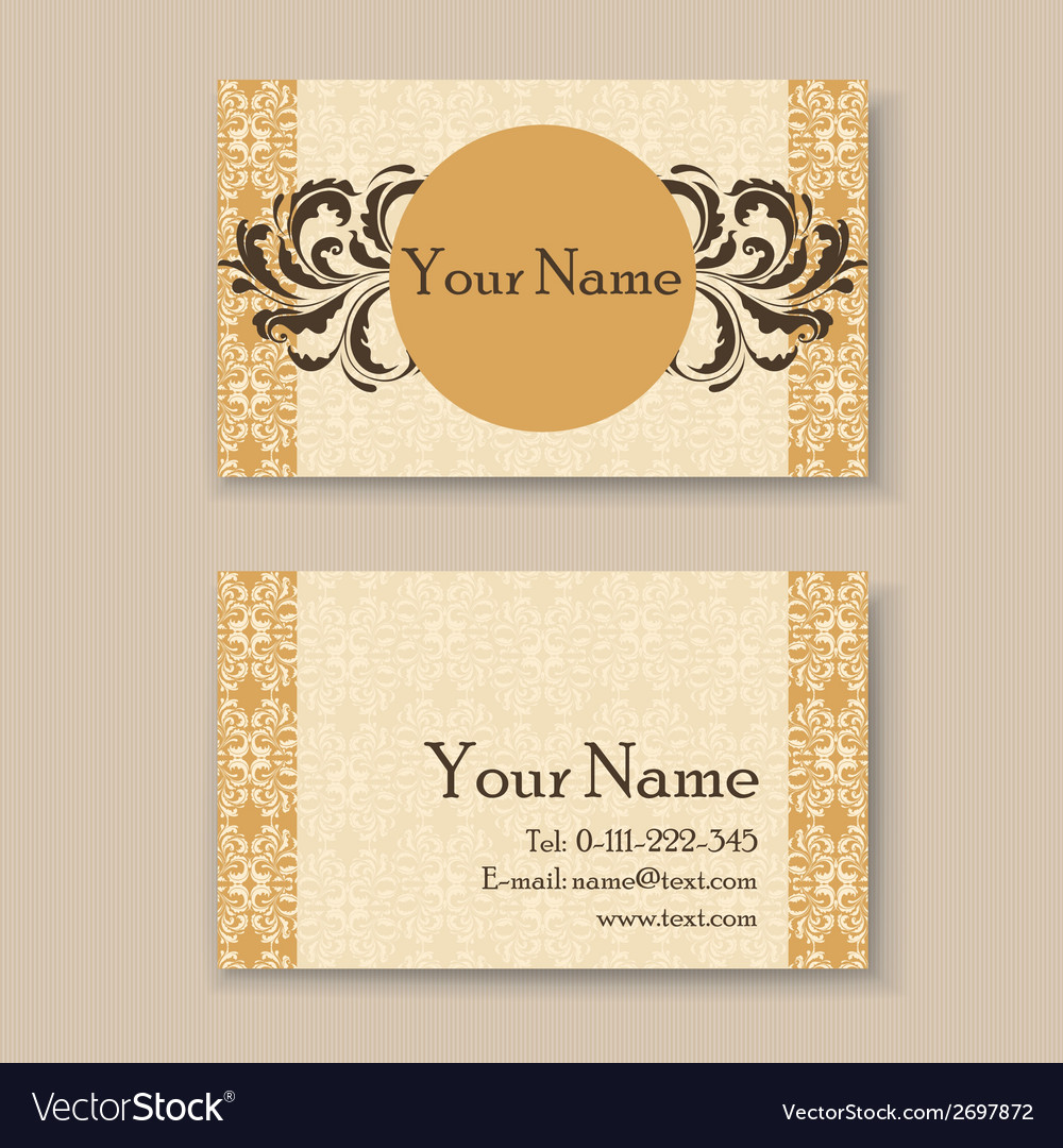 Vintage business card yellow Royalty Free Vector Image
