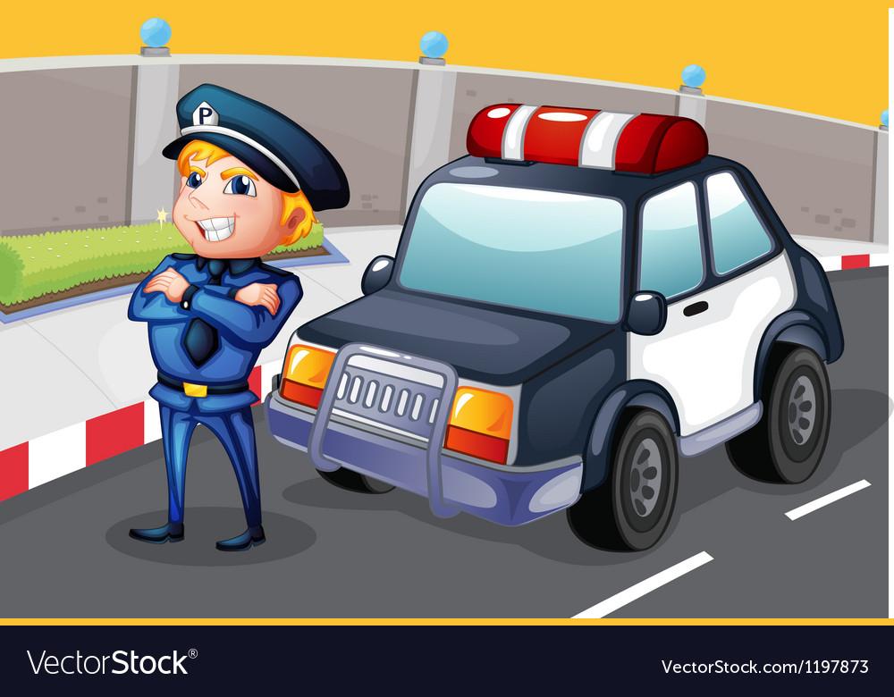 A policeman standing beside his patrol car vector image