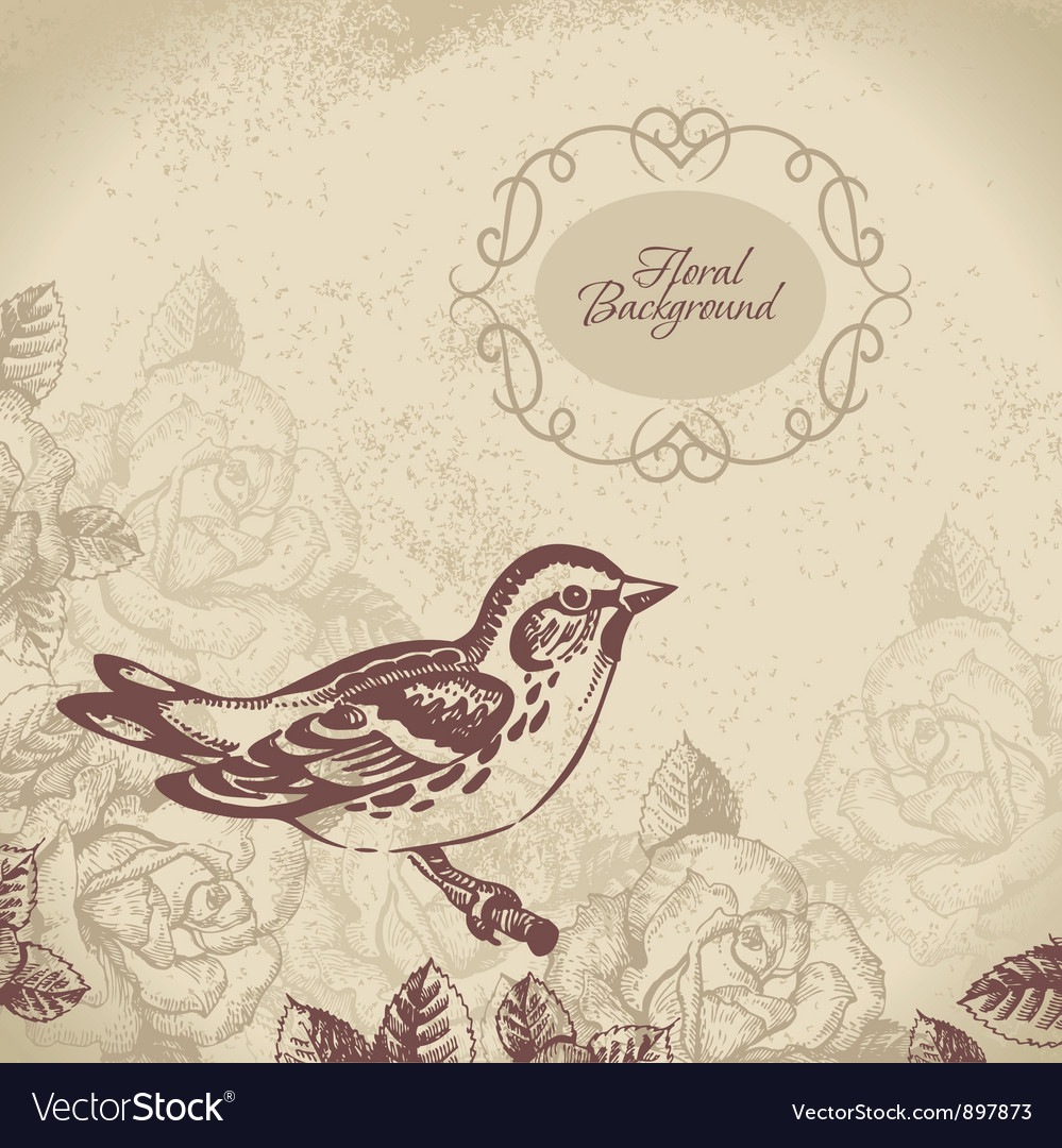 Retro floral background with bird vector image