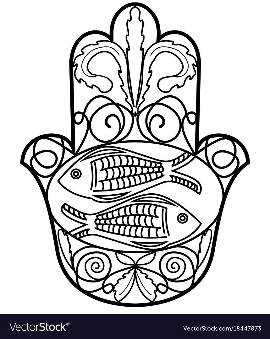Hamsa miriam hand symbol with floral ornament and vector image hamsa miriam hand symbol with floral ornament and vector image biocorpaavc