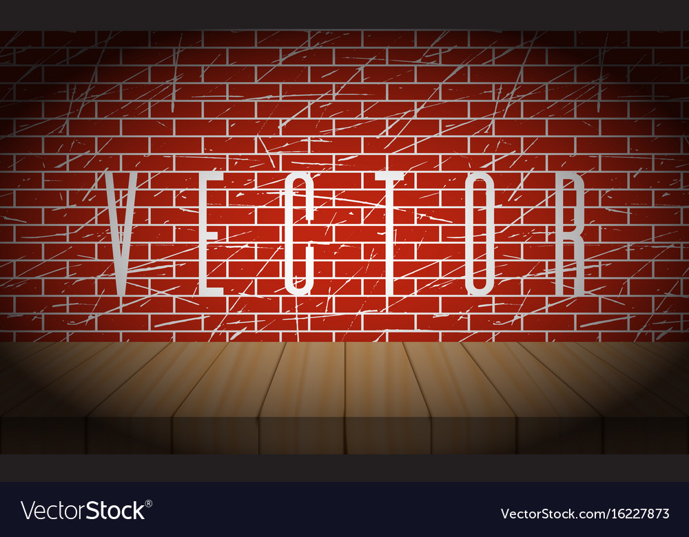 Old brick wall with wooden scene vignettes vector image