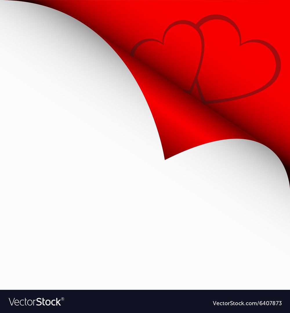 Red curled corners of white sheets vector image