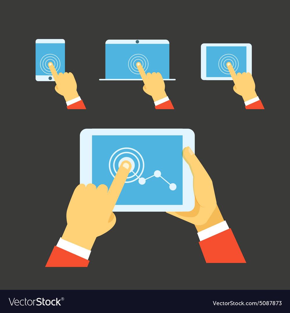 Using modern digital gadgets vector image