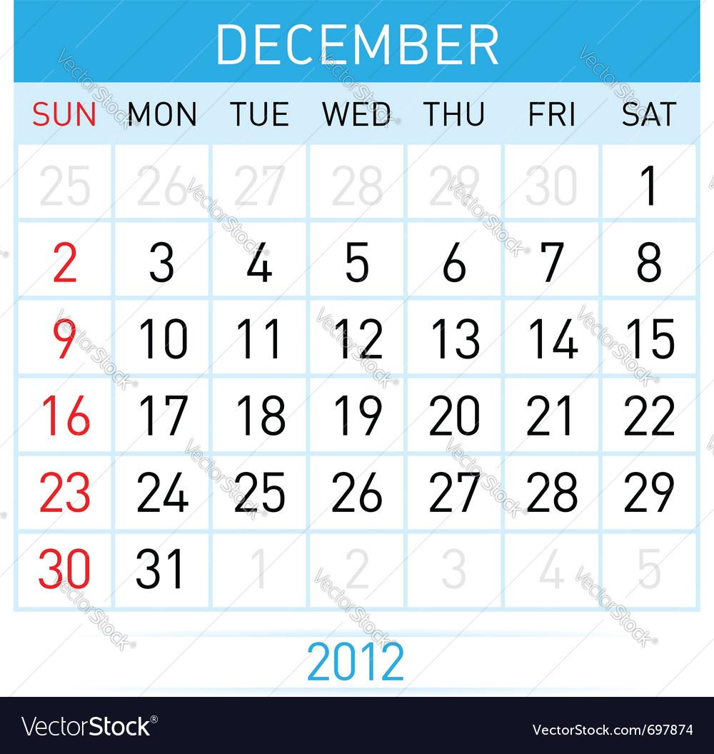 December calendar vector image