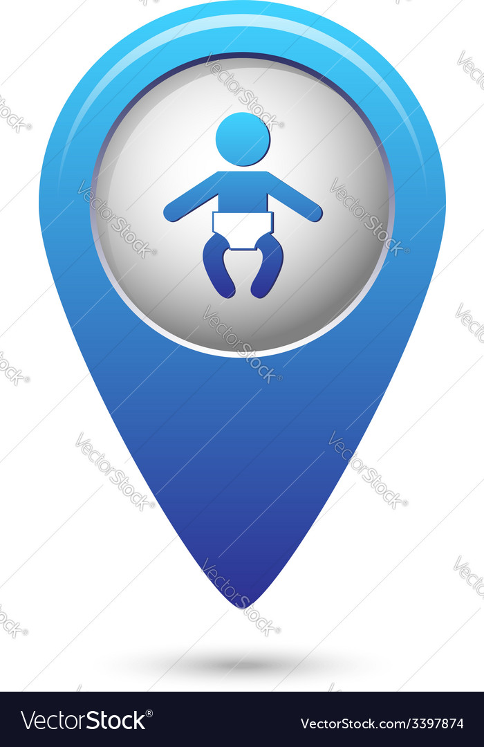 Map pointer with baby icon vector image