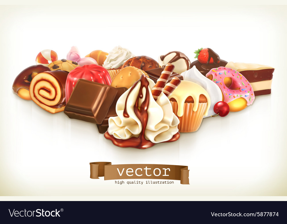 Sweet dessert with chocolate confectionery vector image