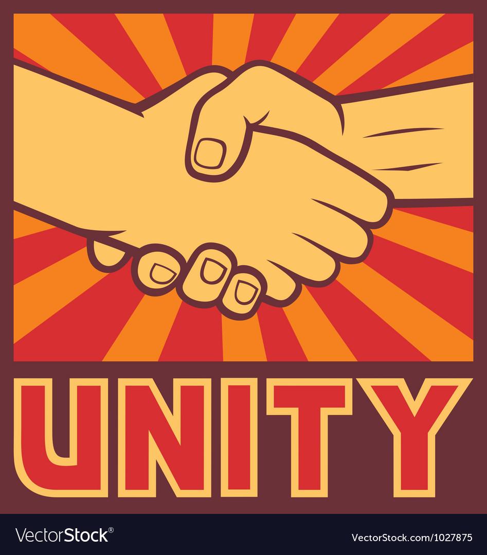 Unity poster - handshake unity design vector image