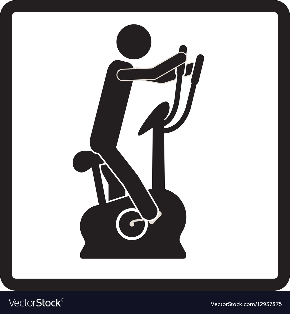 Square shape pictogram with man in spinning bike vector image