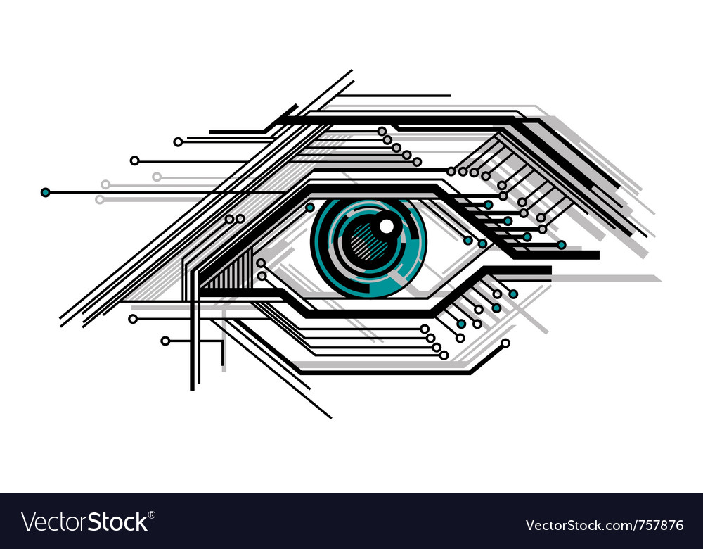 Abstract conceptual tech stylized eye vector image