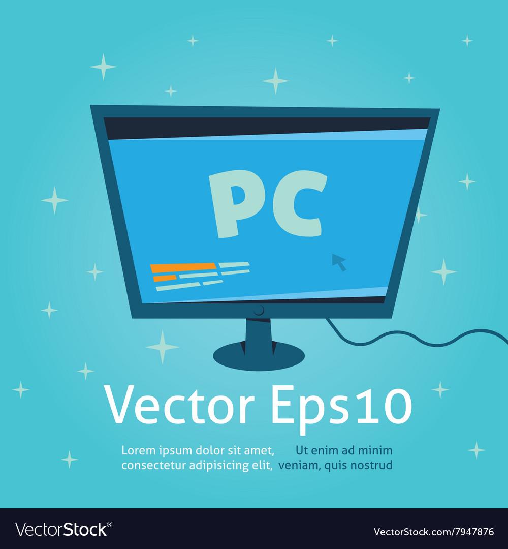 Computer monitor cartoon and vector image
