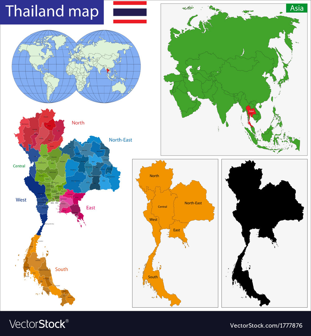 Map Of Kingdom Of Thailand Royalty Free Vector Image - Thailand map
