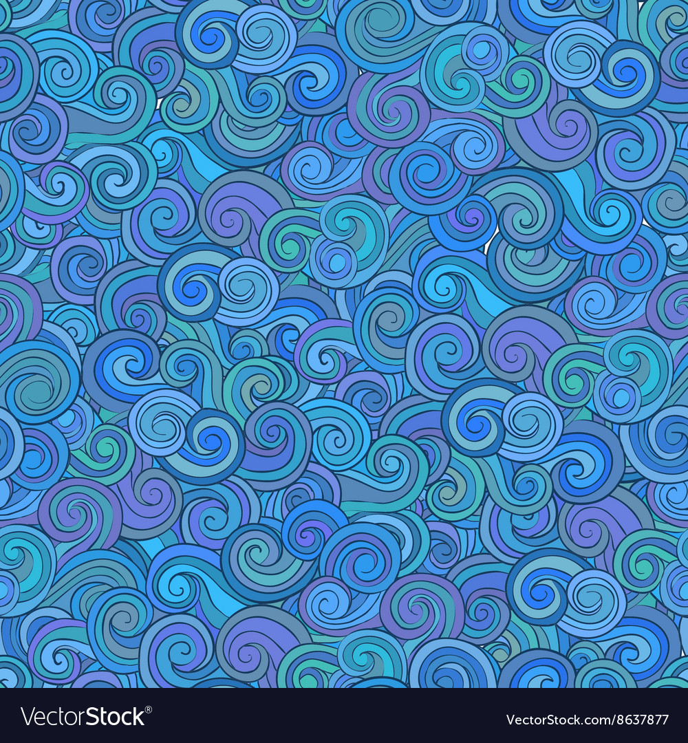 Abstract seamless pattern with wave and cloud vector image