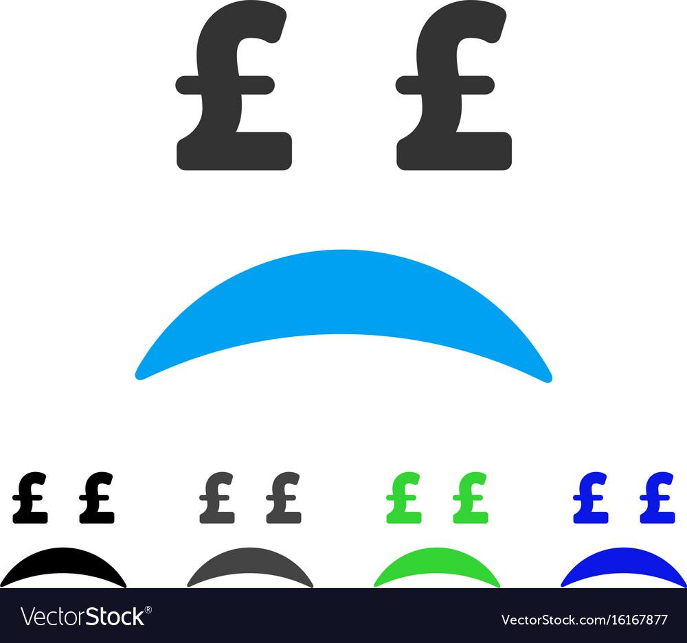 Pound bankrupt sad emotion flat icon vector image