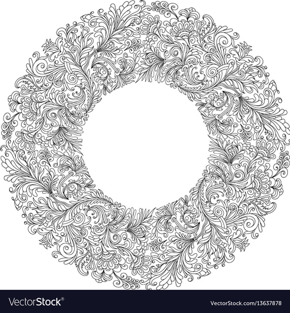 Round frame with black and white doodle flowers vector image