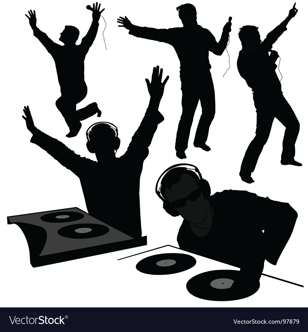 Dj silhouettes vector image