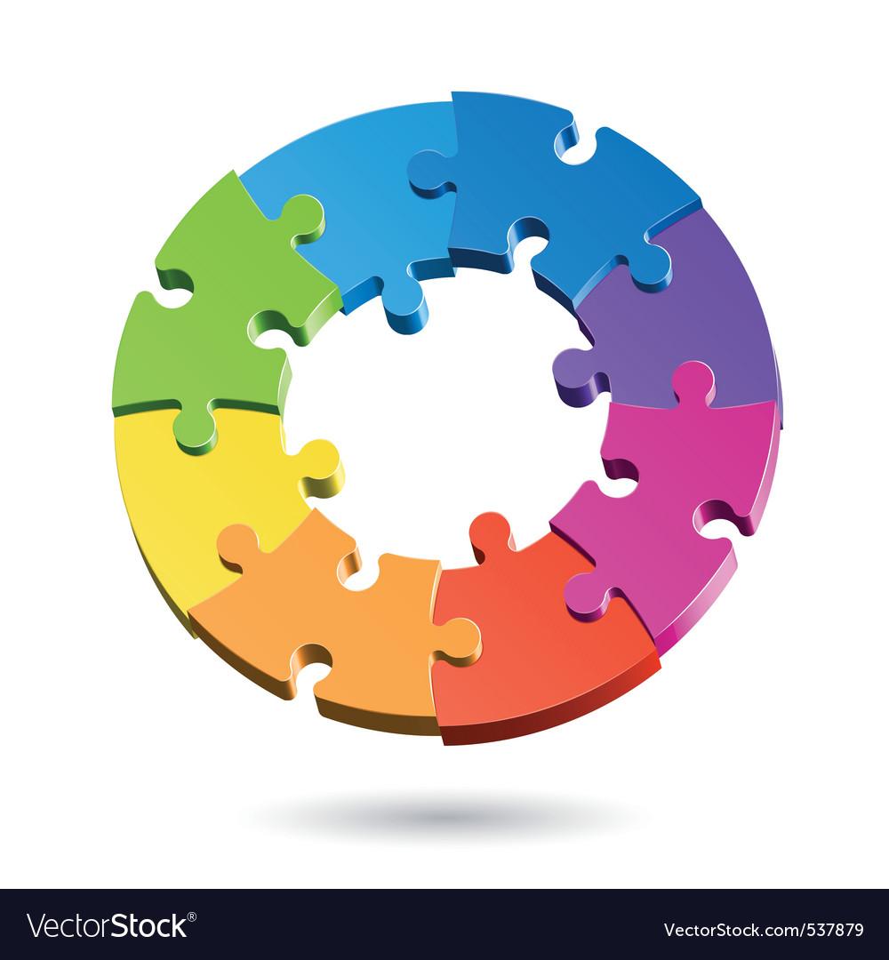 Jigsaw puzzle wheel vector image