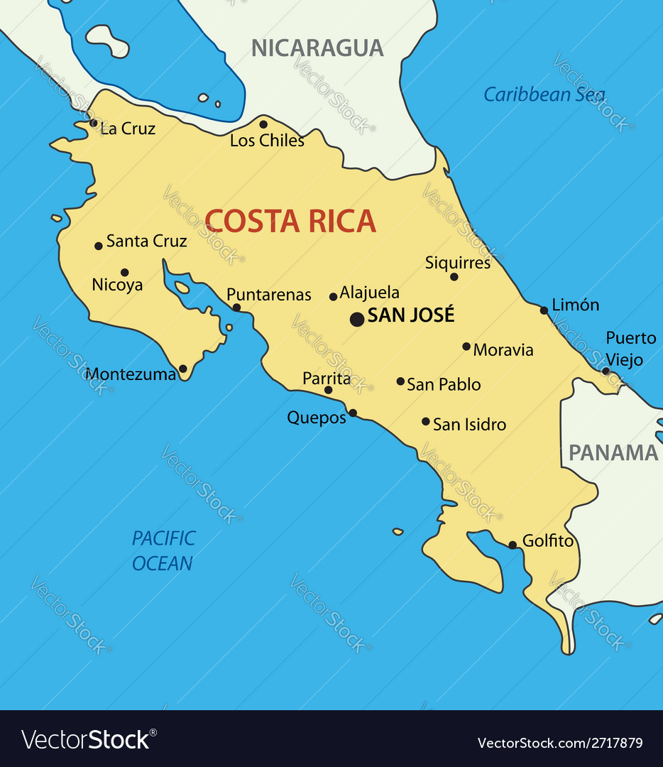 Republic of Costa Rica map Royalty Free Vector Image