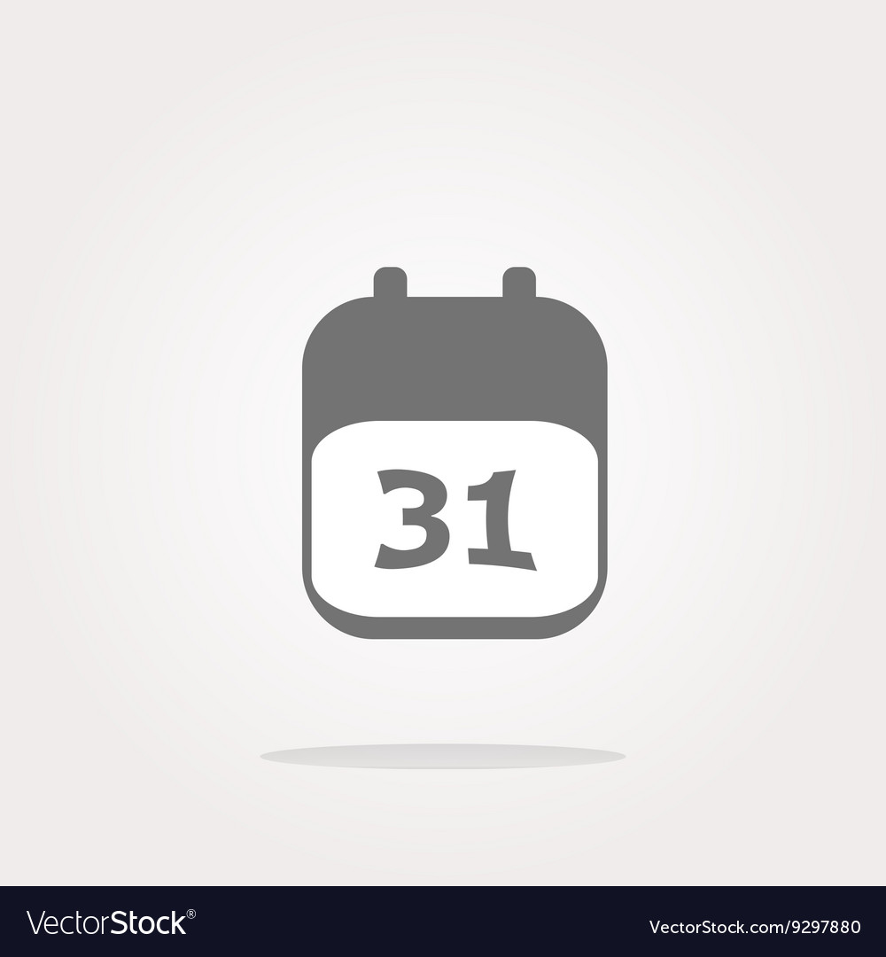 Calendar apps icon glossy button day 31 vector image