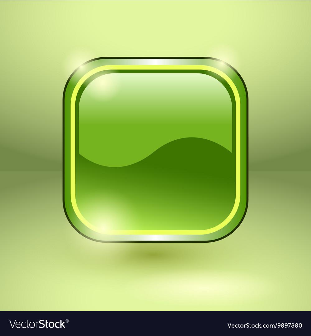 Glossy square empty button vector image