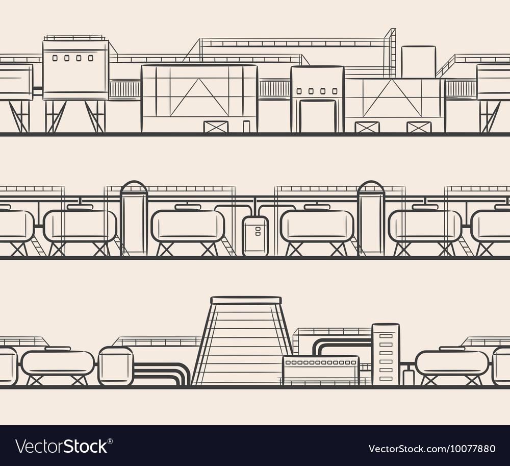 Vintage engraving industrial landscape vector image