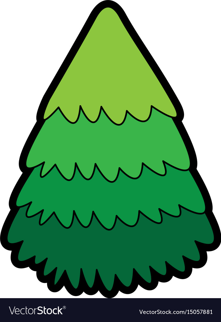 Cute christmas tree cartoon vector image