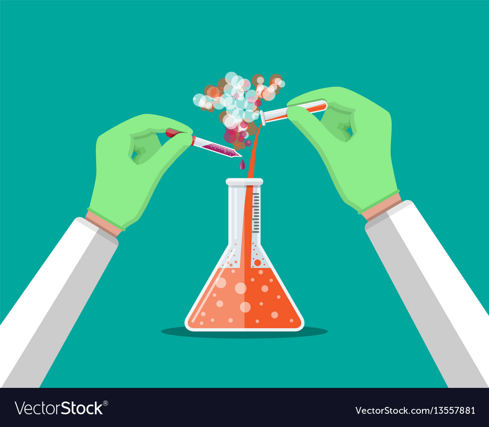 Laboratory worker holding glass tube and pipette vector image