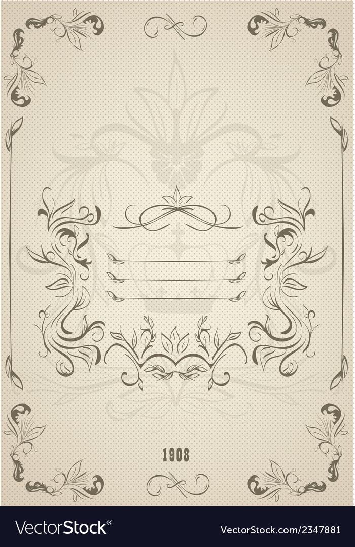Vintage ornate frame with retro background vector image