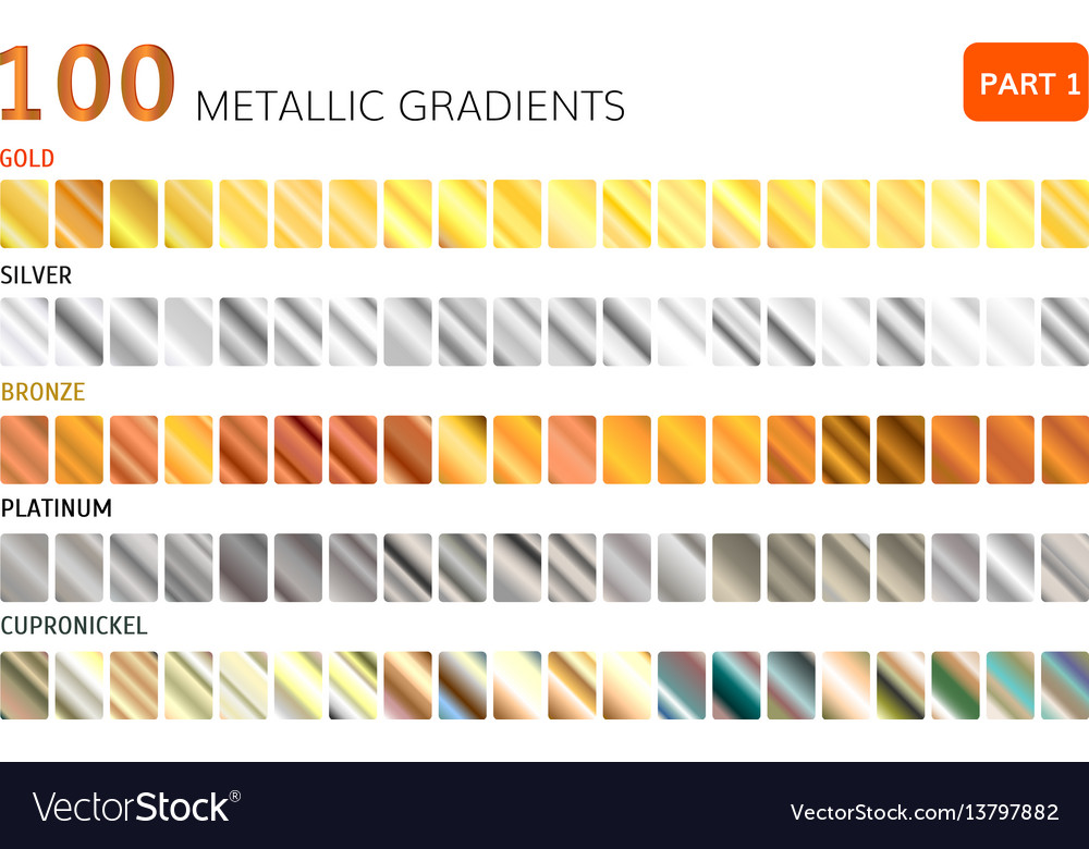 Hundred metal gradients vector image